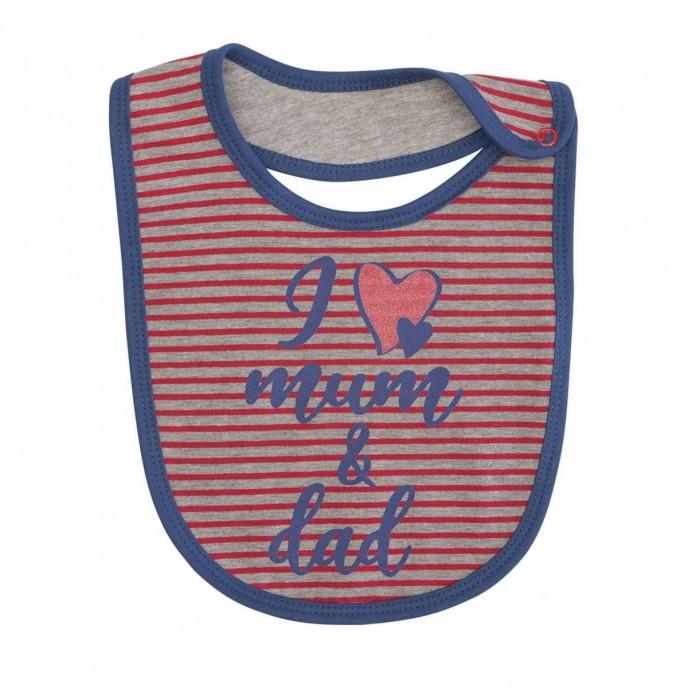 Bib Love Mum & Dad Red Stripes