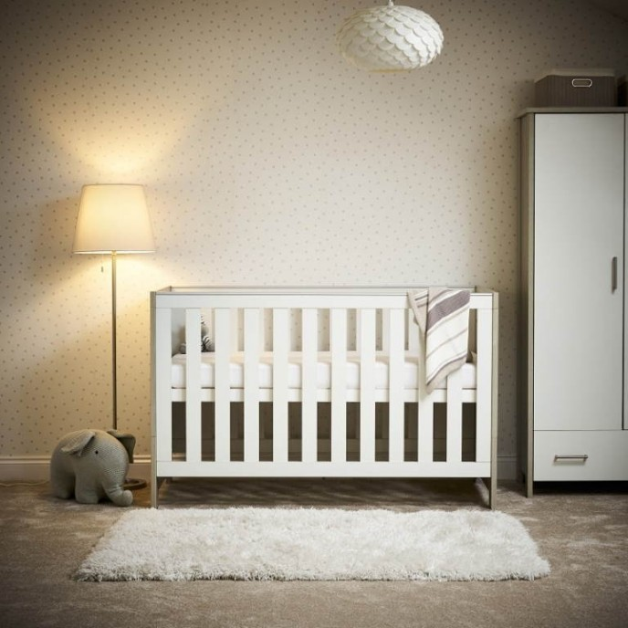 Obaby Cotbed Nika Grey Wash and White