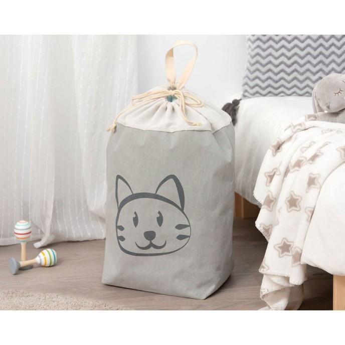 Kiokids Laundry Basket Grey Cat