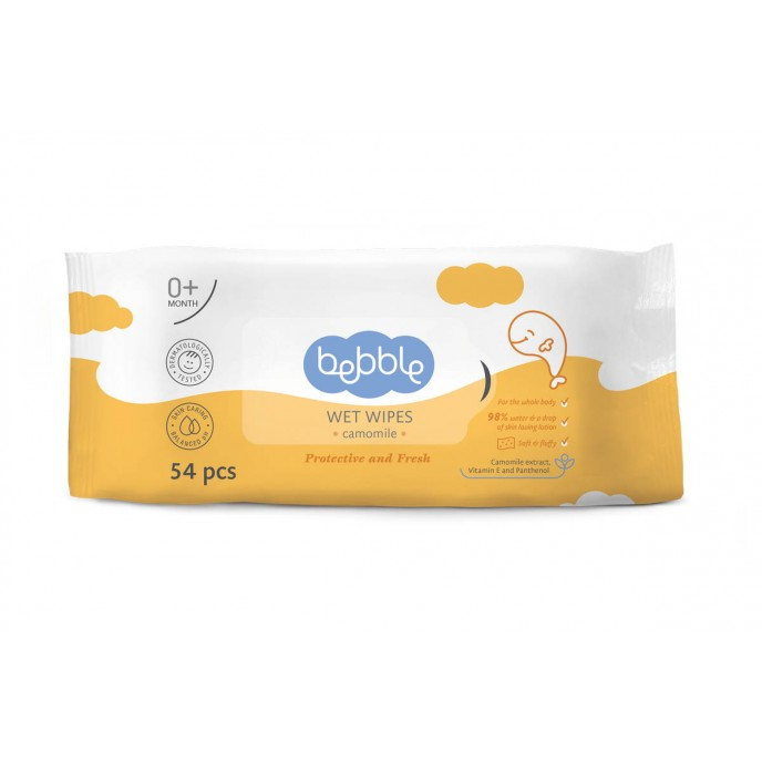 Bebble Wet Wipes with Camomile Extract 54pc