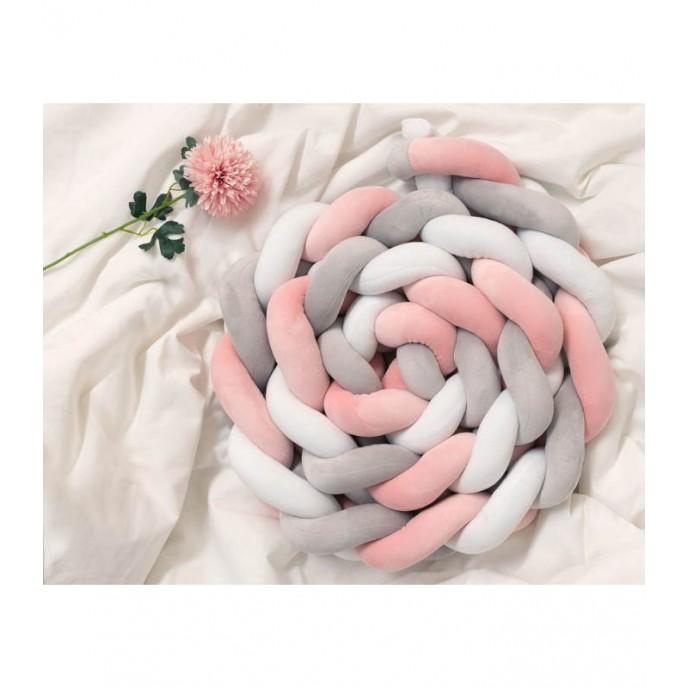 Kiokids Bed Bumper Braid 3m Pink/Grey