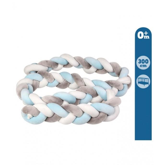 Kiokids Bed Bumper Braid 3m Blue/Grey