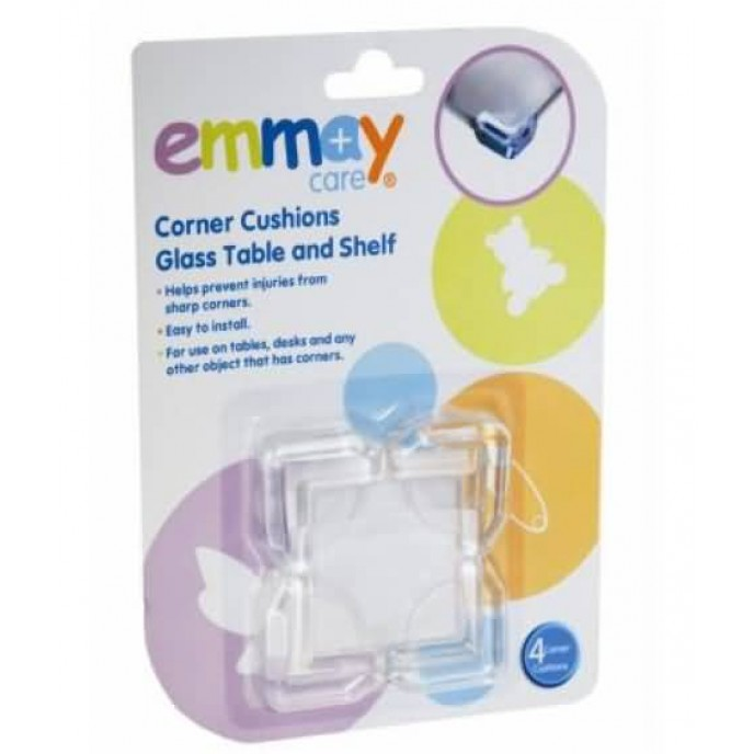 Emmay Care Corner Cushions Glass Table and Shelf